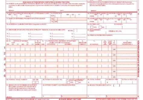 sample  cms  claim form cms  claim  ub