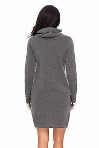 Women In Grey Drawstring Cowl Neck Sweatshirt Dress