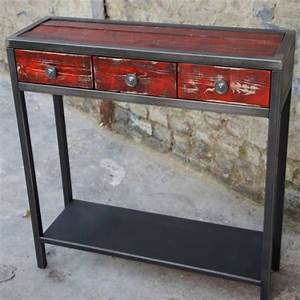 Console Murale Avec Tiroir : console metal meuble console table console design ~ Teatrodelosmanantiales.com Idées de Décoration