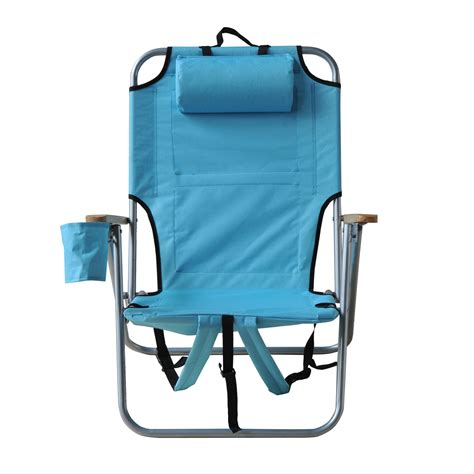 outsunny adjustable backpack beach camp chair  drink
