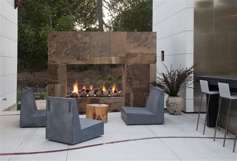 outdoor gas fireplace patio contemporary with cementitious