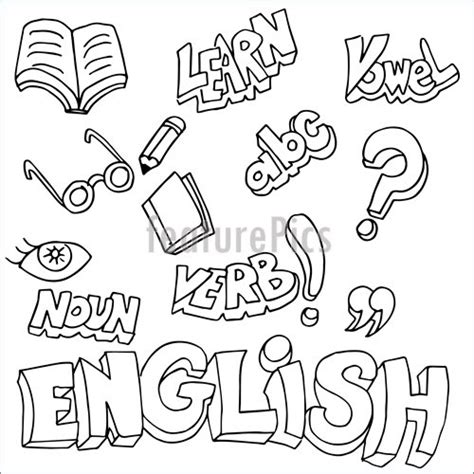 english symbols  learning items stock illustration