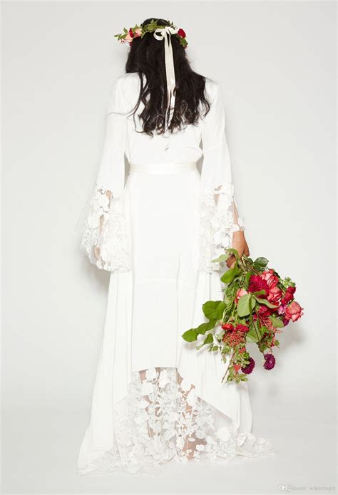 discount simple bohemian counrtry wedding dresses long