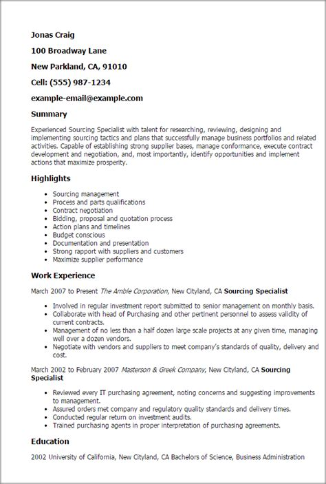 Sourcing Resumes For Free by Sourcing Specialist Resume Sle Professional Sourcing