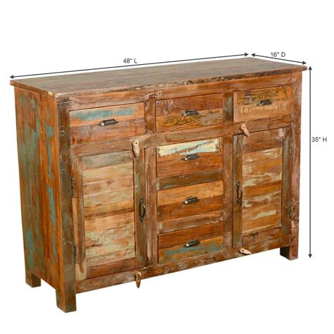 Salvaged Wood Sideboard by Pedro Handcrafted 6 Drawer Rustic Reclaimed Wood Sideboard