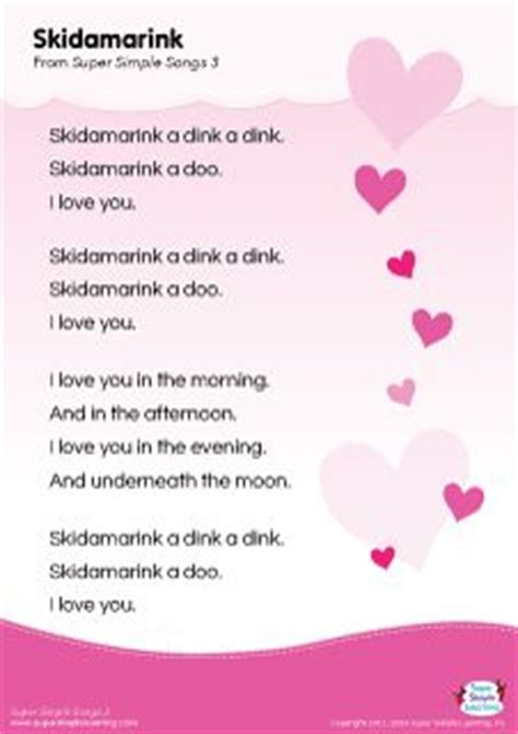 lyrics poster for the quot skidamarink song from simple 382 | 2ec349fd6dc2ca455e1f69d032fa4011 valentines day songs for kids mothers day songs for preschool