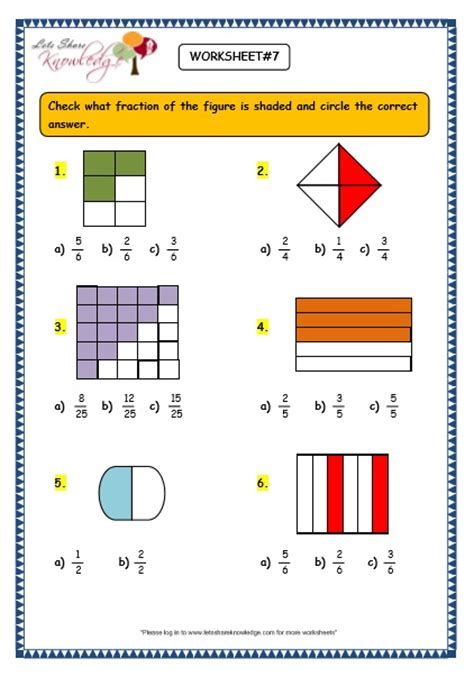 grade 3 maths worksheets 7 1 fractions lets