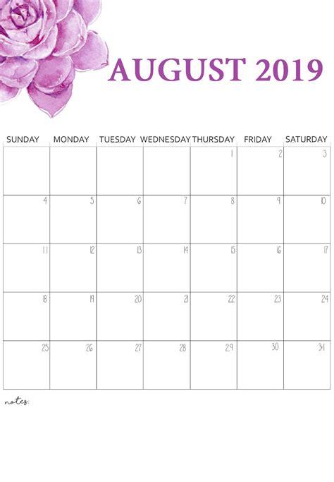 august calendar printable floral