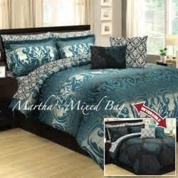 10pc queen teal gray black damask toile arabesque comforter sheet bedding set sheets bedding