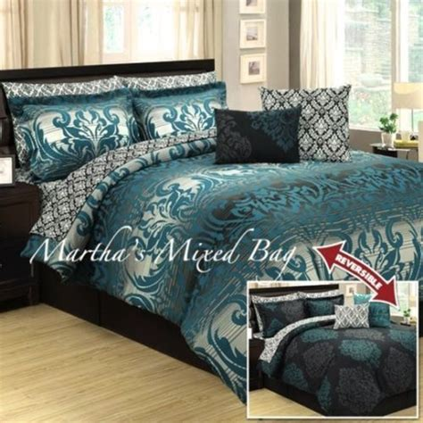 black and teal comforter sets 10pc teal gray black damask toile arabesque