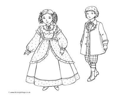 How To Draw A Victorian Boy by Victorian Rich Children Colouring Page