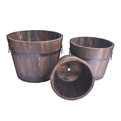 whiskey barrel planters vintiquewise large wooden whiskey barrel planters