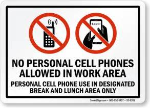 Free Workplace Sign Workplace Policy Sign Sku No Personal Cell Phones Allowed In Work Area Sign Sku S2