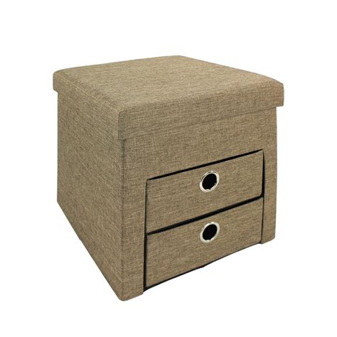 ottoman with drawers storage 15 74 in w x 15 74 in h chocolate folding ottoman with 2