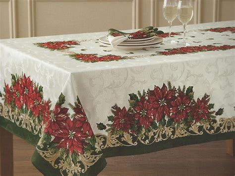poinsettia scroll damask christmas holiday tablecloth