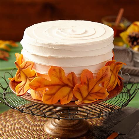 cake fall decorating leaves cakes thanksgiving wilton easy breeze simple idea wlproj edible fondant cheese treat pumpkin dessert fun beginners