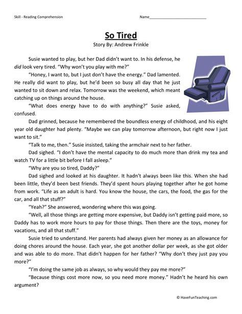 reading comprehension worksheet  tired