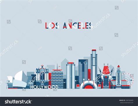 los angeles united states city skyline stock vector