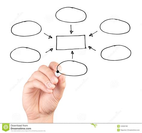 hand drawing  blank diagram isolated  white background