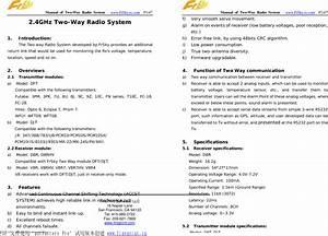 Frsky Electronic D8td8r 2 4ghz Radio System User Manual