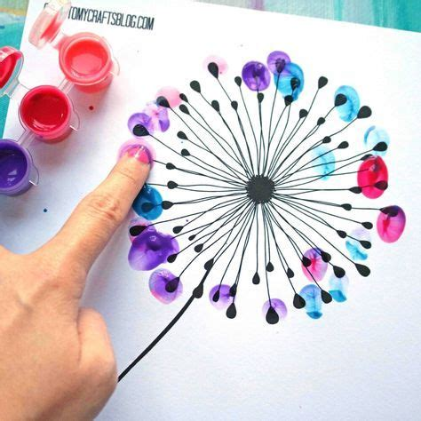 thumbprint dandelion kid craft wfree printable crafts