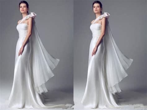 Elegant 2015 Wedding Dresses One Shoulder Satin Organza