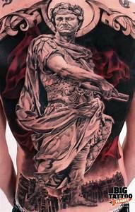 Full size back tattoo of Gaius Julius Caesar statue   Tatt ...