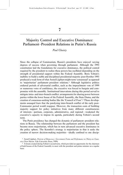 Pdf Majority Control And Executive Dominance Parliament
