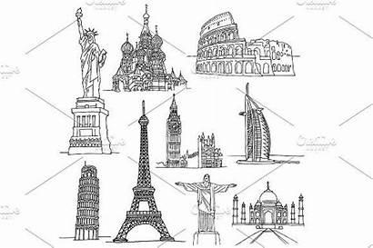 Famous Places Sketches Landmark Icon Buildings Creativemarket