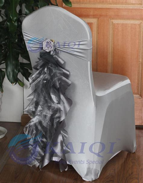 703 sale 100pcs silver fancy chair sashes organza