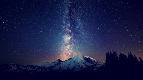 Mountains Landscapes Nature Outer Space Trees Night