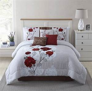 Mainstays, 7, Piece, Red, Roses, Comforter, Set, King, Red