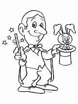Magician Coloring Goochelaar Toveren Cirque Clown Carnaval Het Kleurplaat Kleurplaten Hat Rabbit Bricolage Designlooter Kan Anton Le 58kb 800px Sylvester sketch template