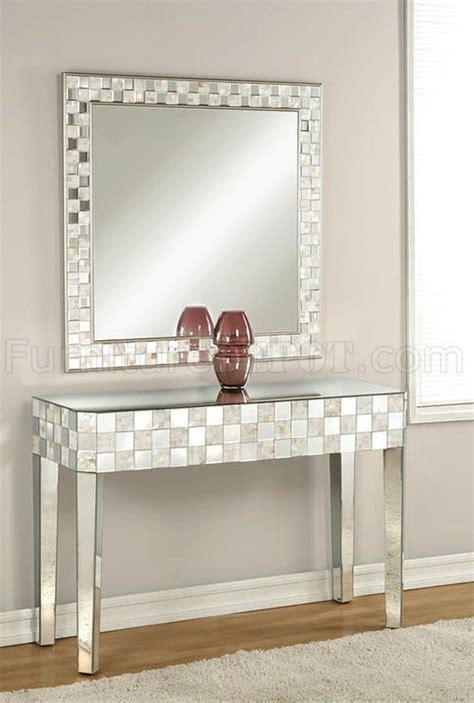 nasa console table mirror set   mirrored pearl