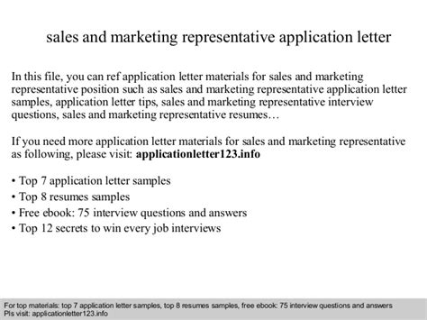 sales and marketing representative application letter