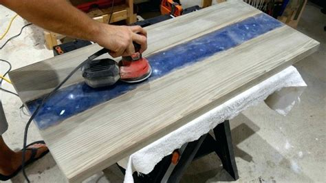 Wood Resin Table River Rock Going Through Table Top Router