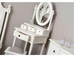Coiffeuse Bois Enfant : meuble coiffeuse blanche directoire pour petite chambre ~ Teatrodelosmanantiales.com Idées de Décoration