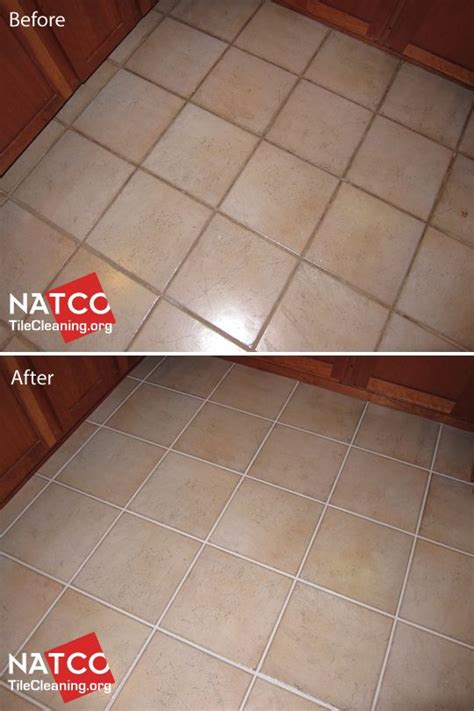 cleaning and painting grout in a ceramic tile floor