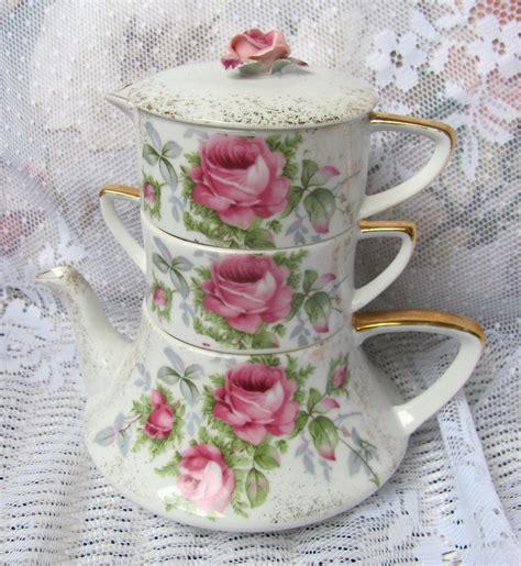 Vintage Lefton Stacking Teapot Stack Tea Pot Shabby Hp