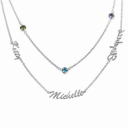 Birthstones Layered Names Necklace Personalized With1 Personalised