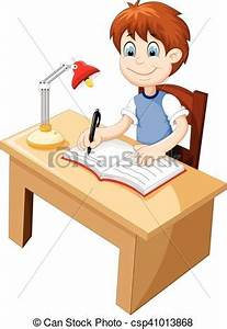 Lindo, escritorio, estudiar, caricatura, niño Niño, lindo, vector clip art Buscar dibujos