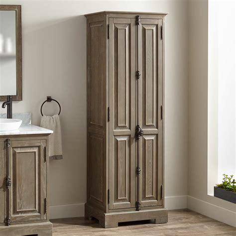 signature hardware chelles bathroom linen storage cabinet