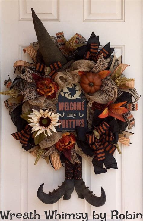 halloween burlap mesh rustic witch wreath  primitive