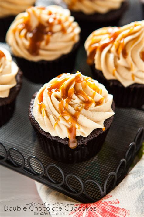 double chocolate cupcakes  salted caramel buttercream