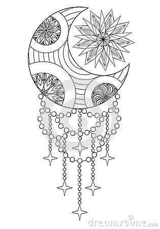 Bohemian Moon And Sun, Hand Drawn Zentangle Moon And Sun For Adu Stock Vector - Image: 72565597