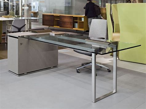 metal and glass office desk executive desk metal glass contemporary deck jorge