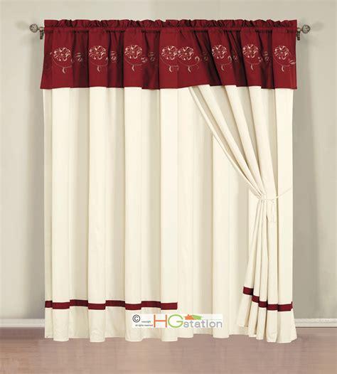 burgundy valances 4 p embroidery summer floral blossom vine curtain set burgundy red ivory valance ebay