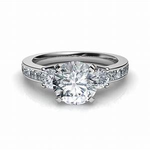 3 stone princess cut channel set engagement ring in 14k for Diamond wedding ring settings