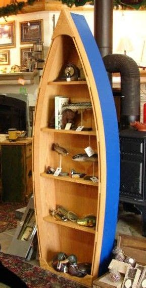 foot handcrafted wood row boat bookshelf bookcase shelve