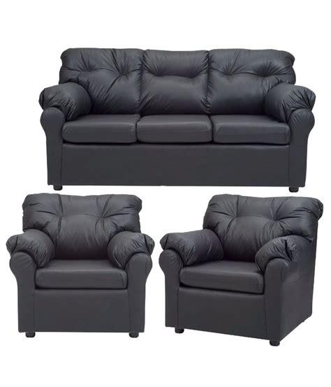 Buy Sofa Sets by Elzada 5 Seater Sofa Set 3 1 1 In Black Buy Elzada 5